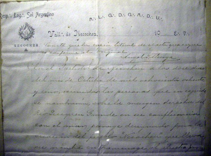 El acta de fundación de la ciudad de Necochea. (DIB)