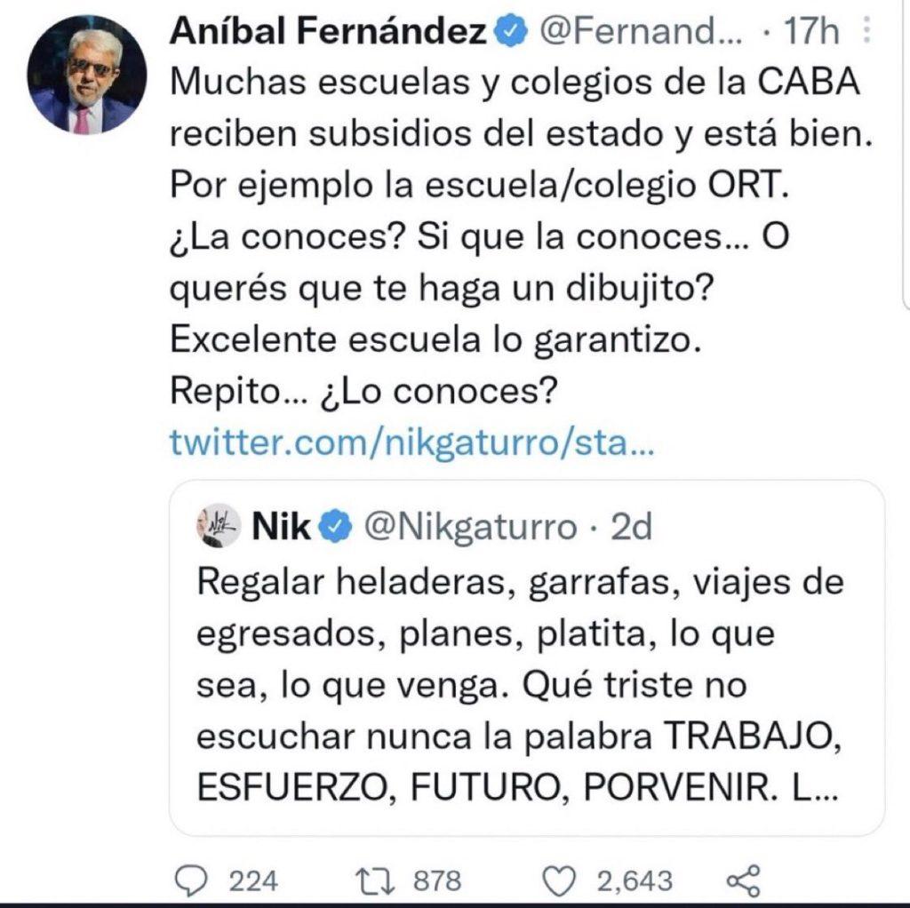 El tuit que Aníbal Fernández luego borró.