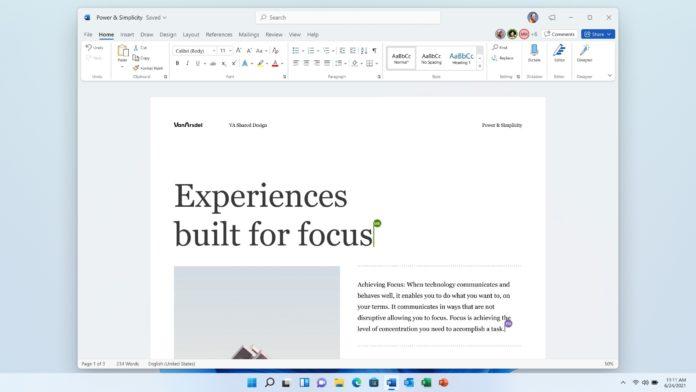 La renovada interfaz de Word 2021, que incluye la edición colaborativa. (Microsoft.com)